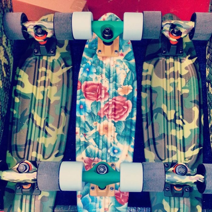 Globe floral and camo skateboards
