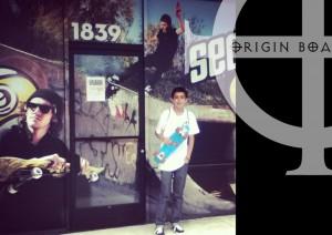 Javier Sanchez is from Buena Park Highschool, 9th Grade. Chill'n in front of Origin Boardshop...