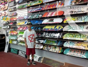 "Adam (6th Grade) is looking very cool in our new Origin Tee in White w/ Red print... Slant ""O"" Design"