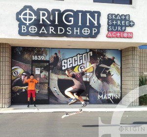 Jeong and Jonathan hanging out at Origin Boardshop Doing some skate tricks in front of the shop...