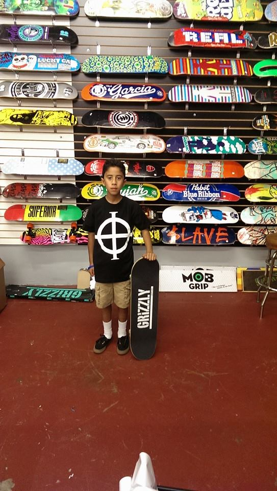 Julian came in today to get some Grizzly grip tape and left with a new free Origin T-shirt! Have fun out there Julian!!!!